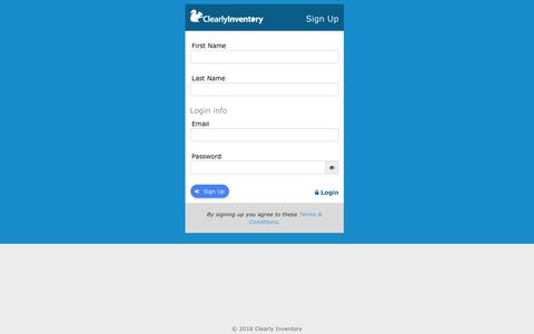 Screenshot of Signup Page clearlyinventory.com - Sign up for Clearly Inventory - captured Nov. 4, 2018