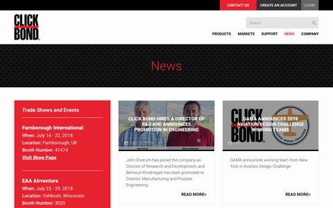 Screenshot of Press Page clickbond.com - :: Click Bond, Inc. :: News & Event - captured July 19, 2018