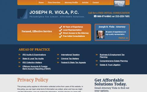 Screenshot of Privacy Page jrviola.com - Privacy Policy | Joseph R. Viola, P.C. | Philadelphia, Pennsylvania - captured Oct. 6, 2014
