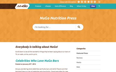 Screenshot of Press Page nugonutrition.com - Nutrition Bars | Protein Bar | Healthy Snacks - NuGo Nutrition - captured Sept. 25, 2014