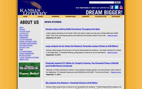 Screenshot of Press Page kslottery.com - News Releases - captured Sept. 25, 2014
