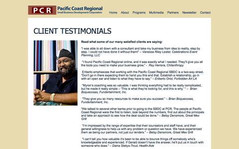 Screenshot of Testimonials Page pcrcorp.org - Pacific Coast Regional Corporation | Testimonials - captured Oct. 17, 2016