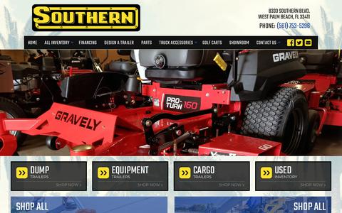 Screenshot of Home Page southernlawnequip.com - Home | Southern Lawn Equipment | West Palm Beach, FL Trailer Dealer and Lawn Equipment Dealer near Miami - captured Oct. 20, 2018