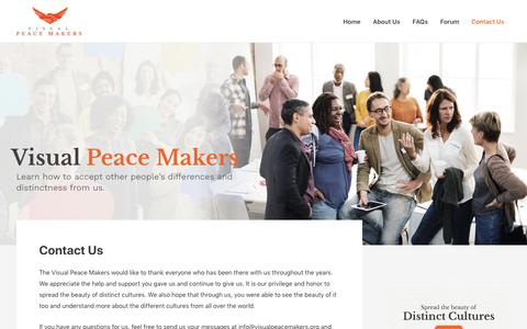 Screenshot of Contact Page visualpeacemakers.org - Contact Us – The Visual Peace Makers - captured Oct. 12, 2018