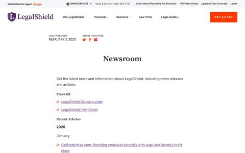 Screenshot of Press Page legalshield.com - Newsroom | LegalShield USA - captured Feb. 9, 2020