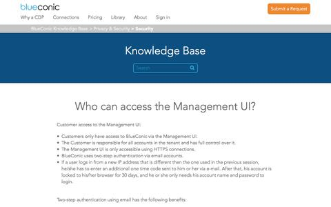 Screenshot of Support Page blueconic.com - Who can access the Management UI? – BlueConic Knowledge Base - captured May 2, 2018