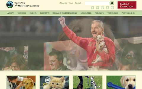 Screenshot of Home Page spcamc.org - SPCA for Monterey County - The heart of Animal Rescue Since 1905 - captured Jan. 28, 2015