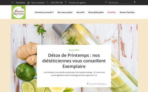 Screenshot of Blog les-menus-services.com - Nutrition et alimentation chez les personnes âgées - Blog - captured May 17, 2017