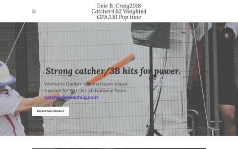 Screenshot of Home Page eviecraig.com - Evie B. Craig2018 Catcher4.62 Weighted GPA,1.81 Pop time - Home - captured July 8, 2018