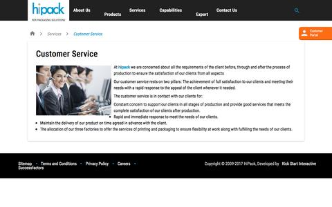 Screenshot of Support Page hipackgroup.com - Customer Service  - HiPack - captured May 18, 2017