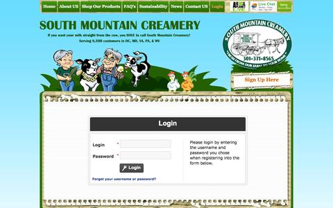 Screenshot of Login Page southmountaincreamery.com - South Mountain Creamery - Online Home Delivery Milk, Dairy, Eggs & Meals in Maryland  :: Warning - captured Oct. 9, 2014