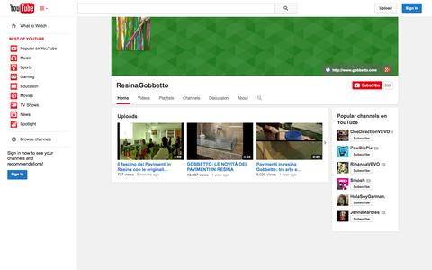 Screenshot of YouTube Page youtube.com - ResinaGobbetto  - YouTube - captured Oct. 22, 2014