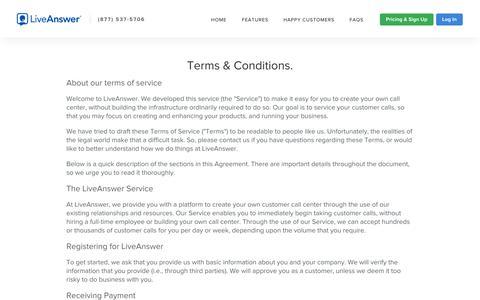 Screenshot of Terms Page liveanswer.com - LiveAnswer - captured Sept. 25, 2014
