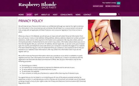 Screenshot of Privacy Page raspberryblonde.co.uk - Privacy Policy > Raspberry Blonde Home > Raspberry Blonde Shoe Party - captured Oct. 7, 2014