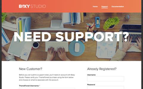 Screenshot of Support Page boxystudio.com - Get Support from Boxy StudioBoxy Studio - captured Sept. 19, 2014