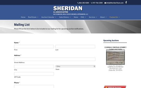 Screenshot of Signup Page sheridanteam.com - Mailing List - Sheridan & Associates - captured Nov. 29, 2016