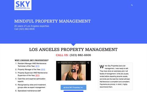 Screenshot of Home Page skypropertiesinc.com - SKY Properties: Los Angeles Property Management + Burbank + Van Nuys - captured July 13, 2016