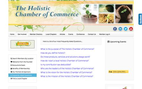 Screenshot of FAQ Page holisticchamberofcommerce.com - Frequently Asked Questions - General - The Holistic Chamber of Commerce - captured Aug. 31, 2016