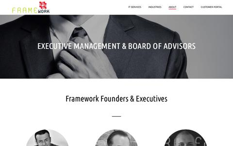 Screenshot of Team Page frameworkcommunications.com - Executive Management/Board of Advisors – Framework - captured Sept. 7, 2018