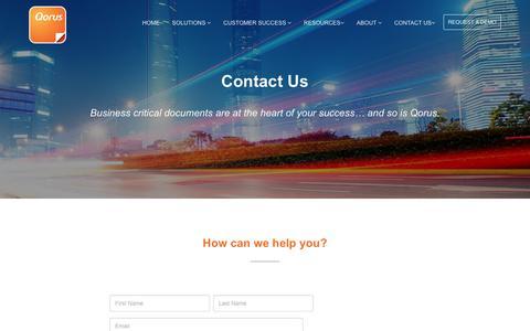 Screenshot of Contact Page qorusdocs.com - Contact Us | Qorus Software - captured March 5, 2018