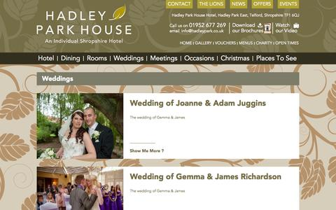 Screenshot of Case Studies Page hadleypark.co.uk - Weddings » Hadley Park House - captured Oct. 1, 2014