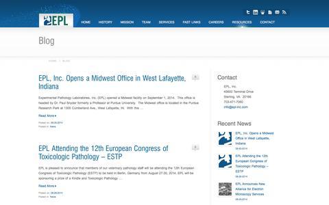 Screenshot of Blog epl-inc.com - Histopathology and Veterinary Pathology Blog - EPL, Inc. - captured Oct. 1, 2014