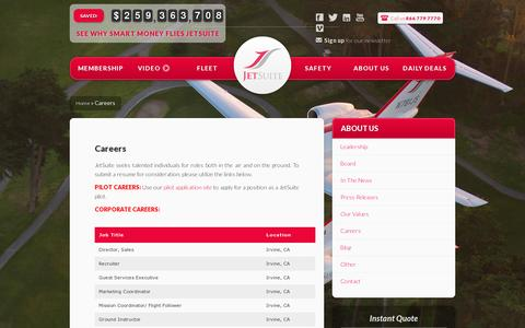 Screenshot of Jobs Page jetsuite.com - Careers | JetSuite - captured July 20, 2014