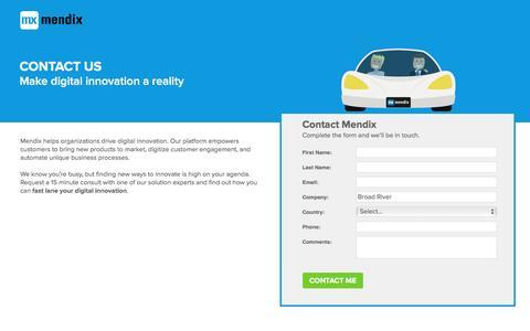 Screenshot of Landing Page mendix.com - Contact Mendix - captured July 22, 2016