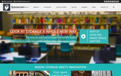 Screenshot of Home Page spacesaver.com - Mobile shelving, high density, weapons lockers, gun lockers, evidence lockers | Spaceaver Corporation - captured Oct. 7, 2014
