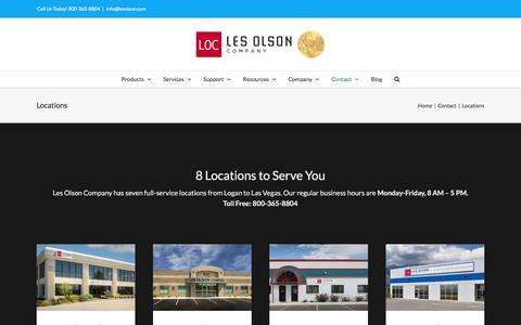 Screenshot of Locations Page lesolson.com - Local Business Technology, 8 Locations - Les Olson Company - captured Aug. 1, 2017