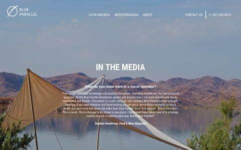 Screenshot of Press Page blueparallel.com - In the Media   Luxury Travel Latin America and Mediterranean - captured Dec. 18, 2018