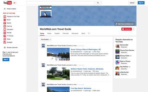 Screenshot of YouTube Page youtube.com - WorldWeb.com Travel Guide  - YouTube - captured Oct. 29, 2014