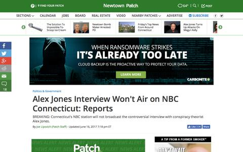 Screenshot of patch.com - Alex Jones Interview Won't Air on NBC Connecticut: Reports - Newtown, CT Patch - captured June 17, 2017