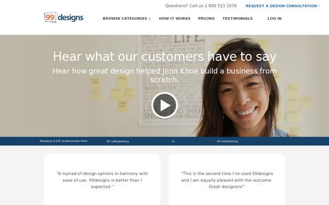 Screenshot of Testimonials Page 99designs.com - Testimonials | 99designs - captured July 19, 2014