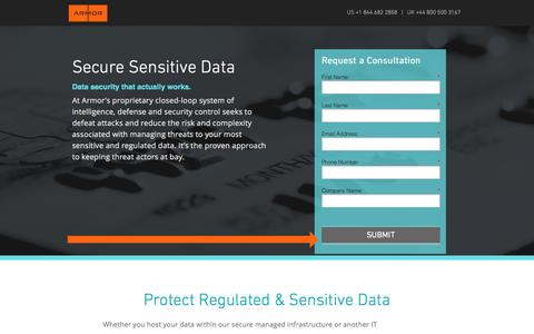Screenshot of Landing Page armor.com - Secure Sensitive Data & Regulated Data - captured April 3, 2017