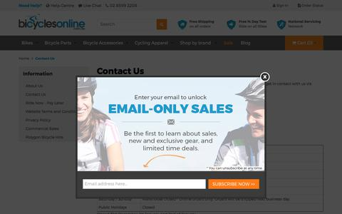 Screenshot of Contact Page bicyclesonline.com.au - Contact Us - captured June 1, 2017