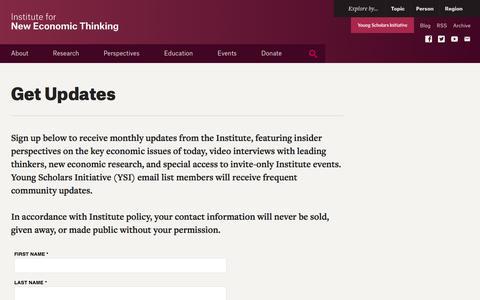 Screenshot of Signup Page ineteconomics.org - Get Updates - captured Nov. 26, 2016