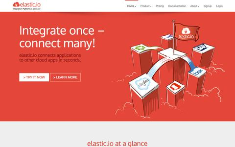 Screenshot of Home Page Pricing Page elastic.io - Integration Platform as a Service - captured Sept. 16, 2014