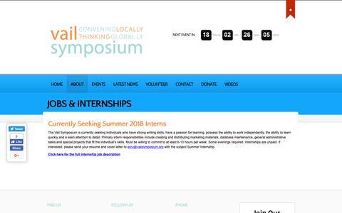 Screenshot of Jobs Page vailsymposium.org - Jobs & Internships - Vail Symposium - captured Nov. 18, 2018