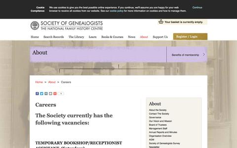 Screenshot of Jobs Page sog.org.uk - Careers - Society of Genealogists - captured Sept. 4, 2016