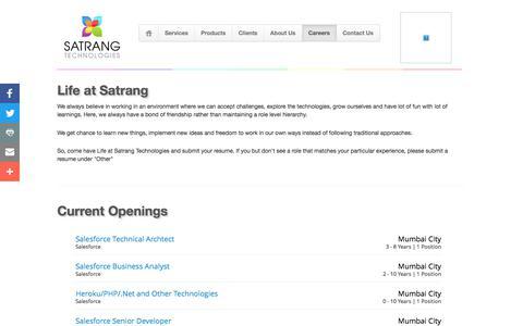Screenshot of Jobs Page satrangtech.com - Satrang Technologies - Careers - captured Sept. 29, 2017