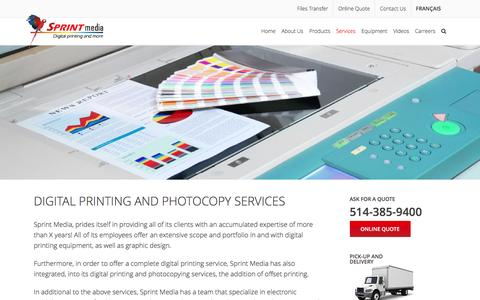 Screenshot of Services Page sprintmedia.ca - Digital Printing And Photocopy Services in Montreal : Sprint Media - captured March 24, 2017