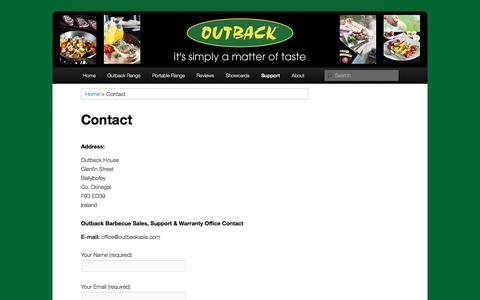 Screenshot of Contact Page Support Page outbackbarbecues.net - Contact :: Outback Barbecues - captured Feb. 4, 2018