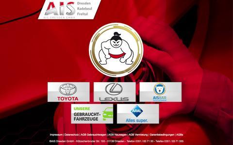 Screenshot of Home Page ais-toyota.de - AIS Dresden - Toyota - Lexus - Starker Service, Starke Typen. - captured June 20, 2015