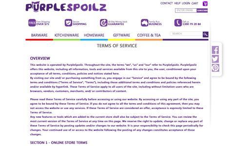 Screenshot of Terms Page purplespoilz.com.au - Terms of Service - captured Dec. 14, 2015