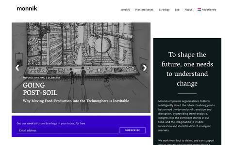 Screenshot of Home Page monnik.org - Monnik – Studio for futures & fiction - captured Sept. 21, 2018