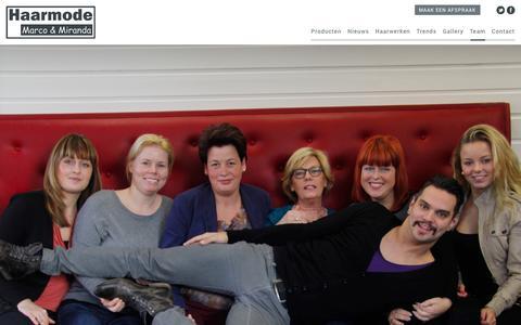 Screenshot of Team Page mm-haarmode.nl - Marco & Miranda's haarmode - Team - captured Oct. 4, 2014