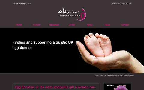 Screenshot of Home Page altrui.co.uk - Egg donation UK | Donate eggs now with Altrui - captured Jan. 27, 2016
