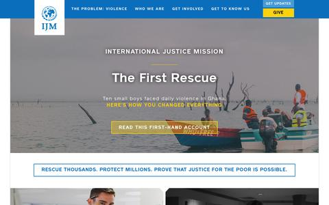 Screenshot of Home Page ijm.org - International Justice Mission | Rescue Thousands. Protect Millions. Prove that justice for the poor is possible. - captured Oct. 1, 2015