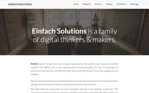 Screenshot of About Page einfachltd.com - Einfach Solutions | About us - captured Sept. 27, 2018
